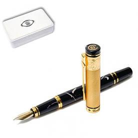 Ручка перьевая подарочная в футляре 137 мм Золотая медаль Duke GM14K-BL Чёрно-золотая