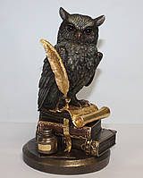Статуэтка Сова на книгах с золотистым пером Veronese 23 см 75033A5, фото 1