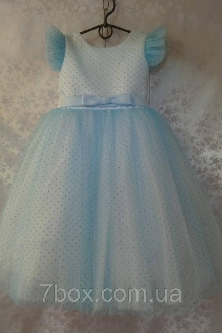 Детское платье бальное Горошки Голубое 5-6 лет. Опт и Розница