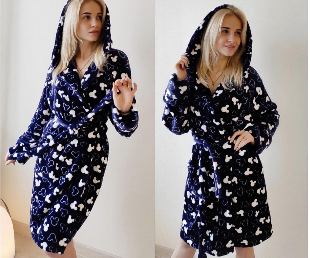Женский короткий халат синего цвета с капюшоном хит продаж