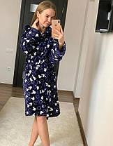 Женский короткий халат синего цвета с капюшоном хит продаж, фото 3