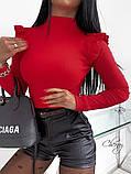 Женский трикотажный гольф водолазка под горло черный красный бежевый облегающий с рюшиками 42-46, фото 6