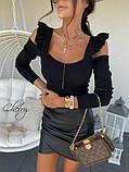 Женская кофточка черная бежевая 42-46  облегающая с рюшиками и открытыми плечами с вырезом длинный рукав, фото 4