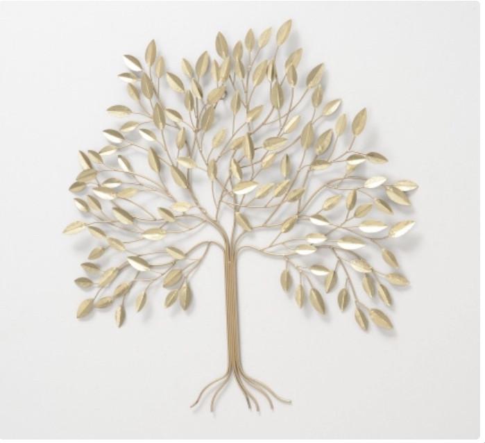 Настенный декор Дерево металл золото 74*4см