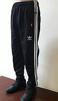 Спортивные штаны мужские прямые, трикотаж, черные с лампасами Размер 46