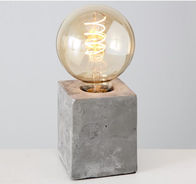 Настольная лампа ночник «Тесла» серый бетон h10см