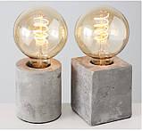 Настольная лампа ночник «Тесла» серый бетон h10см, фото 5