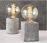 Настольная лампа ночник «Тесла» серый бетон h10см, фото 3