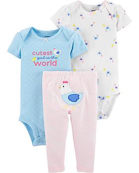 2 Боди + Штаны Carters на новорожденную девочку 46-55 см. Костюм тройка для девочки