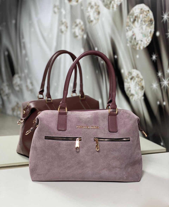 Большая замшевая женская сумка из натуральной замши классическая стильная удобная темная пудра