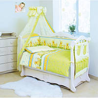 Детские постельки для новорожденных в кроватку с балдахином Twins Comfort С-027 Утята с шариками зеленый