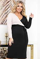 Тепле жіноче плаття з щільного трикотажу з імітацією запаху з 48 по 56 розмір, фото 2