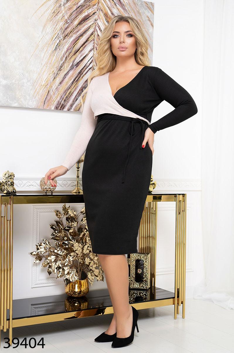 Тепле жіноче плаття з щільного трикотажу з імітацією запаху з 48 по 56 розмір
