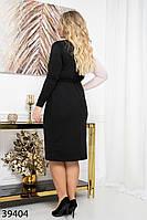 Тепле жіноче плаття з щільного трикотажу з імітацією запаху з 48 по 56 розмір, фото 4
