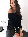 Женская ангоровая кофта черная пудровая на одно плечо 42-46 48-52 большого размера свободная зимняя осенняя, фото 2