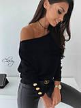 Женская ангоровая кофта черная пудровая на одно плечо 42-46 48-52 большого размера свободная зимняя осенняя, фото 3
