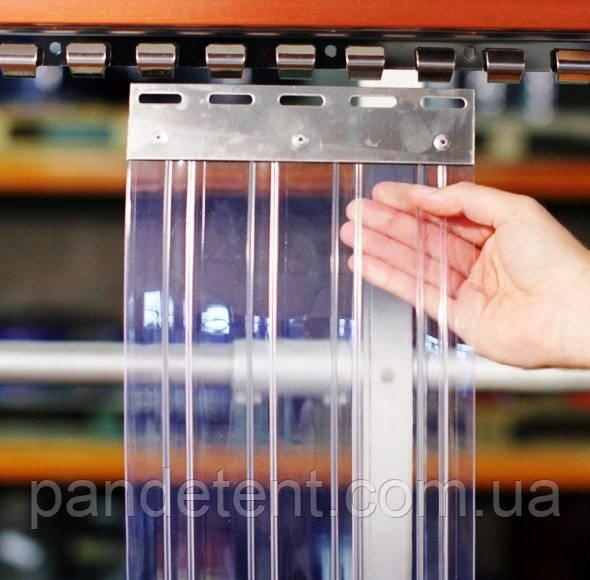 Ленточная Ребристая теплоизолирующая ПВХ завеса. Силиконовая штора полосовая 2х300 мм