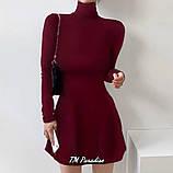 Женское осеннее зимнее платье расклешенное короткое теплое с начесом бордовое зеленое 42-44 46-48 повседневное, фото 2