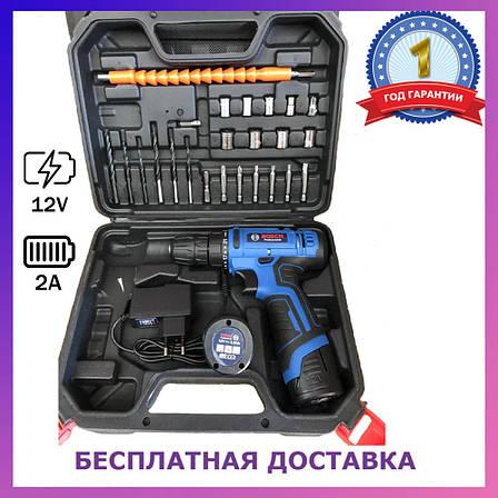 Аккумуляторный шуруповерт BOSCH GSR 120Li C набором инструментов и гибким валом Аккумуляторный шуруповерт Бош, фото 2