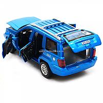 Машинка игровая автопром «Jeep» (джип) металл, 14 см, синий (свет, звук, двери открываются) 7638, фото 7