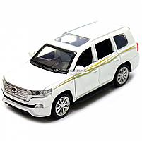 Машинка игровая автопром «Toyota Land Cruiser» Белая со световыми и звуковыми эффектами (6608), фото 4