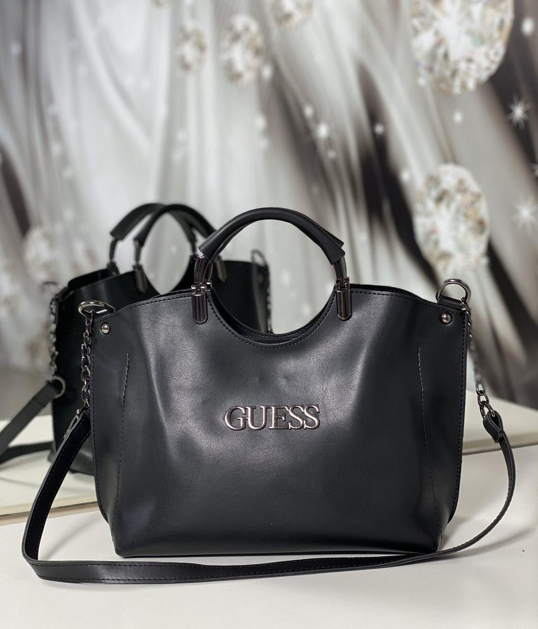 Черная женская сумка небольшая на плечо модная городская сумочка шоппер экокожа