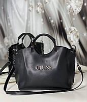 Черная женская сумка небольшая на плечо модная городская сумочка шоппер экокожа, фото 1