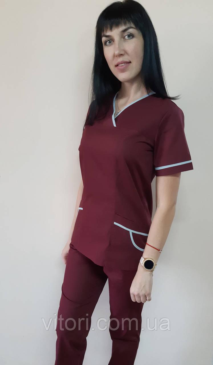 Жіночий медичний костюм Шарм з кантом бавовна короткий рукав