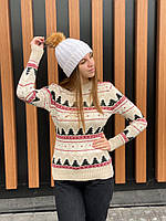 Шерстяной новогодний свитер с оленями, женский зимний свитер