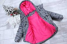 Детская теплая зимняя куртка для девочки рефлективная светоотражающая на зиму серая буквы 9-10 лет, фото 2