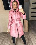 Женское демисезонное пальто куртка черное графитовое лазурное мятное розовое 42-44 46-48 50-52, фото 3