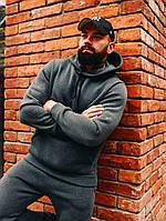 Мужской зимний серый спортивный костюм с капюшоном