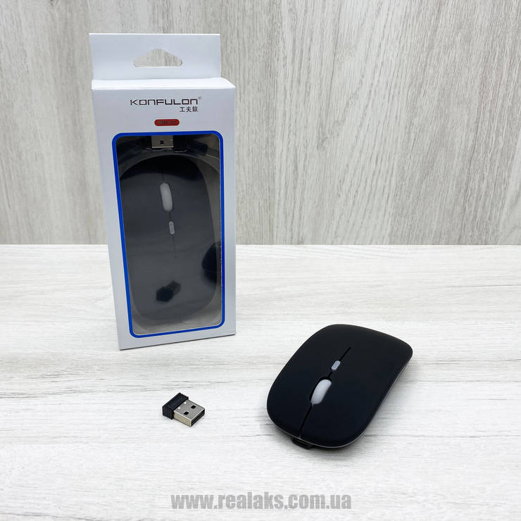 Мышка оптическая беспроводная USB Konfulon WM-02 SE (Black), фото 2