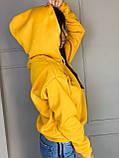 Женское зимнее худи трехнить на флисе горчичный морская волна сиреневый 42-48 теплое батник, фото 2