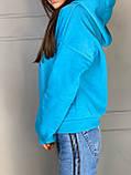 Женское зимнее худи трехнить на флисе горчичный морская волна сиреневый 42-48 теплое батник, фото 7