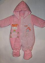 Человечек велюровый утепленный для новорожденного арт 7442 розовый..