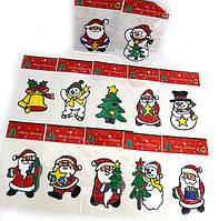 Наклейка новорічна RV-133/0551 силіконова 15х19см, (мишки, ялинки, сніговики, сніжинки, санта) уп24