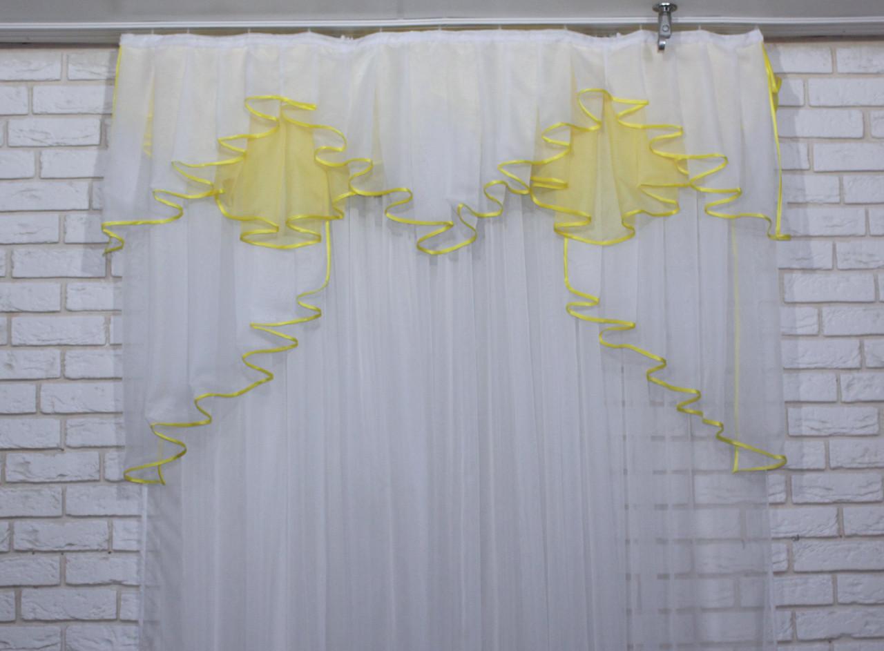 Ламбрекен на карниз 1.5м. модель №93. Цвет белый с желтым 60-068