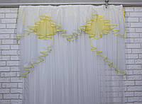 Ламбрекен на карниз 1.5м. модель №93. Цвет белый с желтым 60-068, фото 1