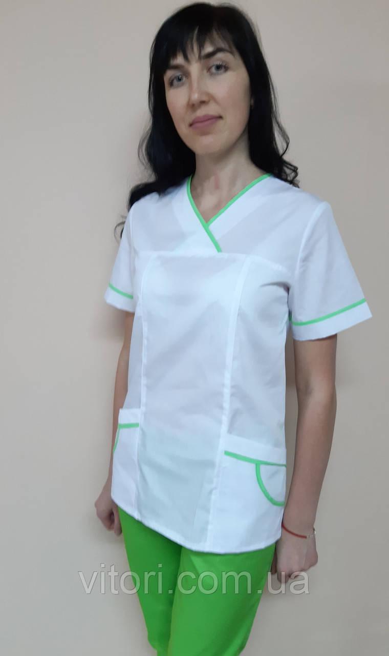 Женский медицинский костюм Шарм с кантом хлопок короткий рукав
