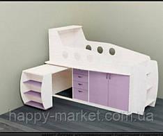 Кровать чердак для ребенка с выдвижным столом КЧД-0505