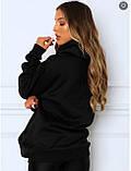 Женское зимнее худи трехнить на флисе черное бежевое светло серое 42-46 48-52 теплый батник с принтом, фото 9