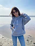Женское зимнее худи трехнить на флисе черное бежевое светло серое 42-46 48-52 теплый батник с принтом, фото 10