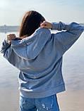 Женское зимнее худи трехнить на флисе черное бежевое светло серое 42-46 48-52 теплый батник с принтом, фото 8