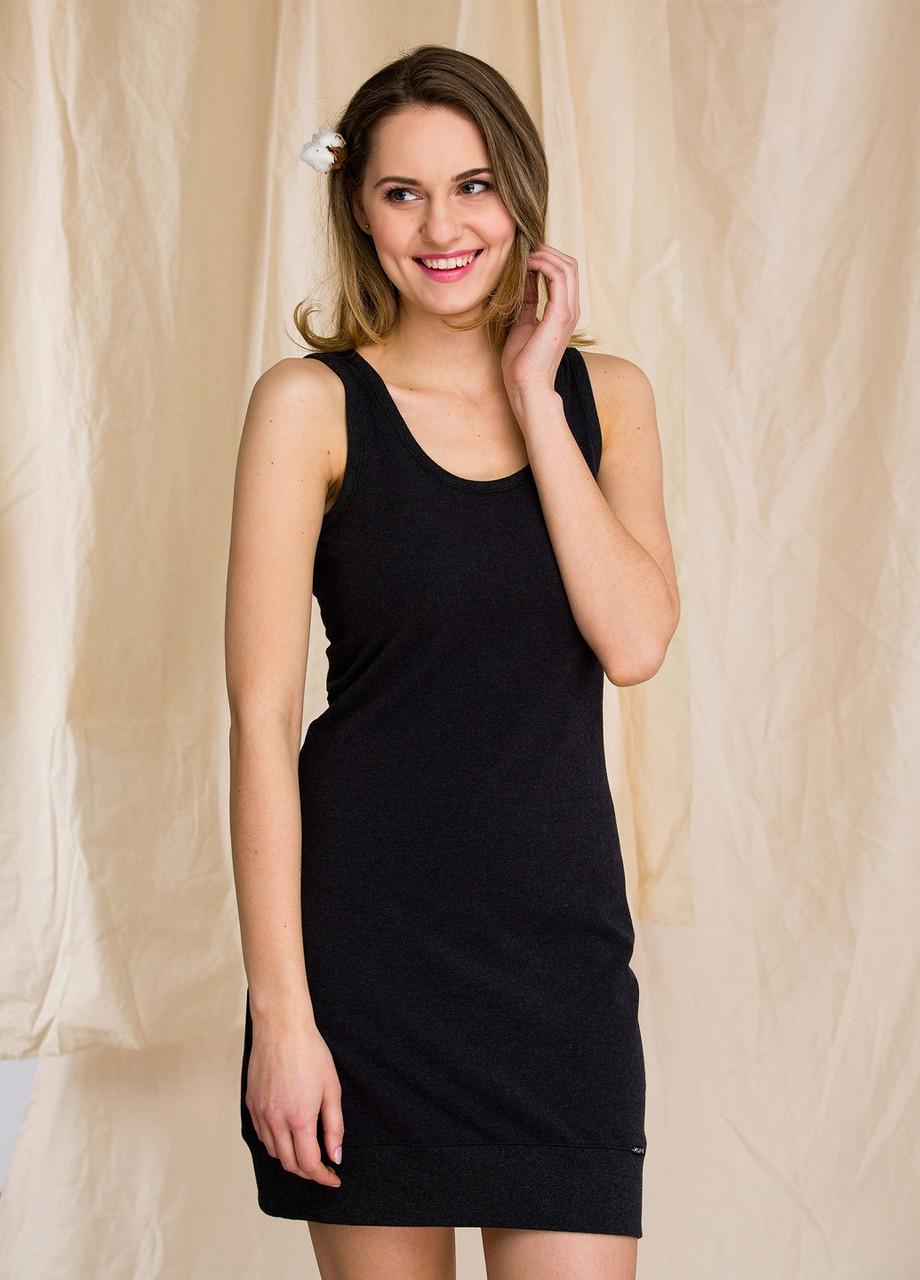 Сорочка жіноча термо на бретелях чорна Hot Touch Key