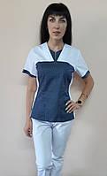 Женский медицинский костюм Мишка хлопок короткий рукав, фото 1