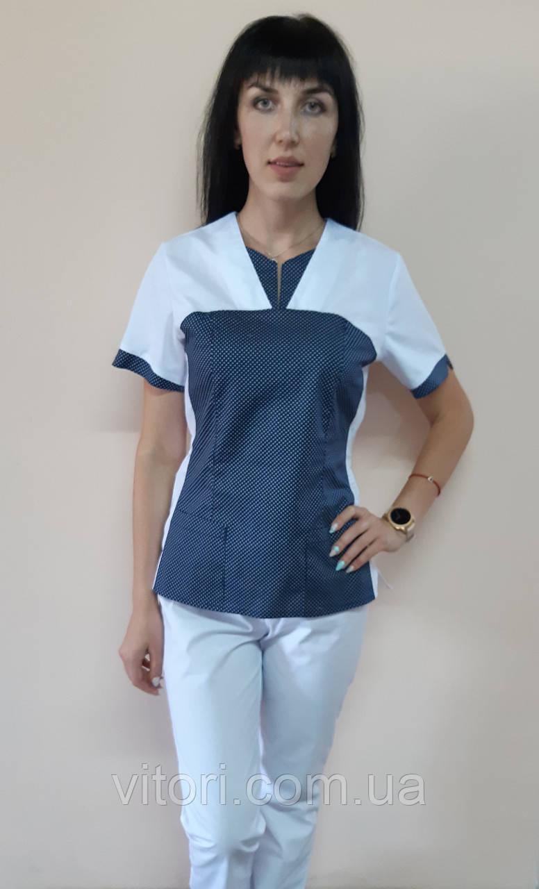 Женский медицинский костюм Мишка хлопок короткий рукав