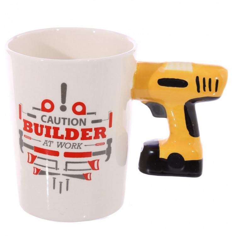 Керамическая чашка Caution Building Дрель 250 мл Белый (naj123636)