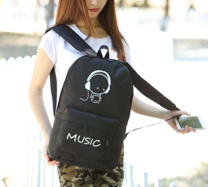 Рюкзак міський світиться BNJ00296 Music Fluor Чорний (tau_krp258_00296)