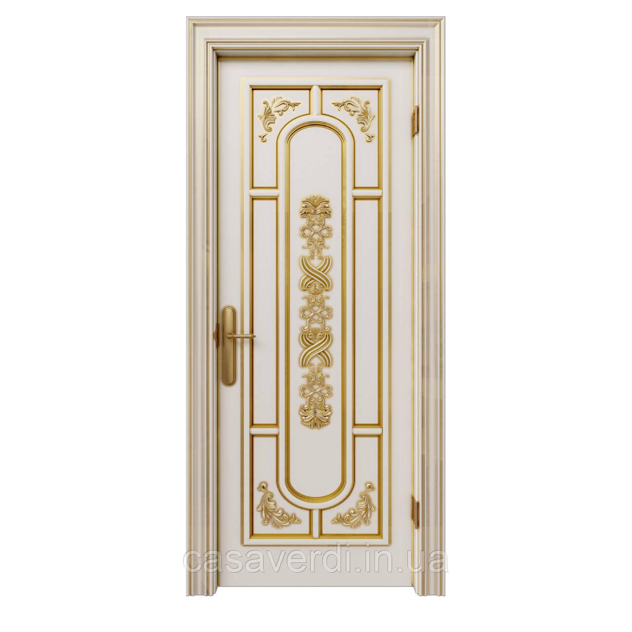 Межкомнатная дверь Casa Verdi Milano 5 из массива ольхи белая с декором